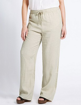 PLUS Pure Linen Wide Leg Trousers, FLAX, catlanding