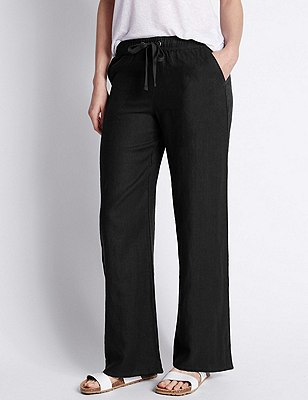 PLUS Pure Linen Wide Leg Trousers, BLACK, catlanding