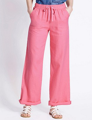 Pure Linen Wide Leg Beach Trousers, BRIGHT PINK, catlanding