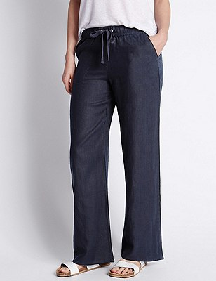 Pure Linen Wide Leg Beach Trousers, NAVY, catlanding