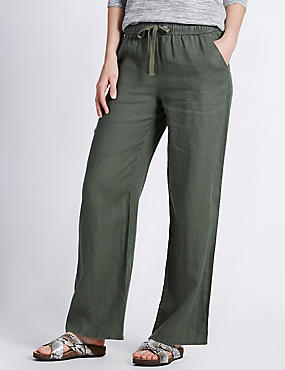 Pure Linen Beach Wide Leg Trousers, KHAKI, catlanding