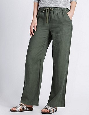 Pure Linen Wide Leg Beach Trousers, KHAKI, catlanding