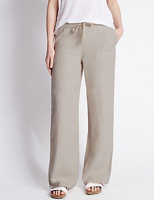 Pure Linen Beach Wide Leg Trousers, FLAX, catlanding
