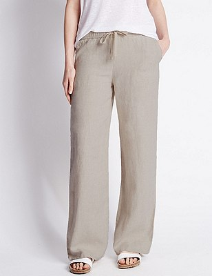 Pure Linen Wide Leg Beach Trousers, FLAX, catlanding