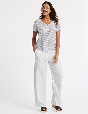 Pure Linen Wide Leg Beach Trousers, WHITE, catlanding