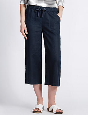 Pure Linen Cropped Beach Trousers, NAVY, catlanding