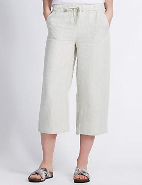 Pure Linen Cropped Beach Trousers, FLAX, catlanding