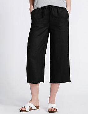 Pure Linen Cropped Beach Trousers, BLACK, catlanding