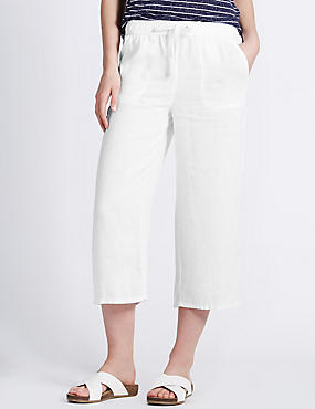Pure Linen Cropped Beach Trousers, WHITE, catlanding