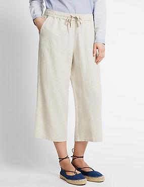 Pure Linen Cropped Trousers, FLAX, catlanding