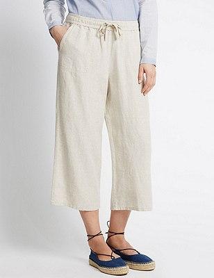 Pure Linen Wide Leg Cropped Trousers , FLAX, catlanding