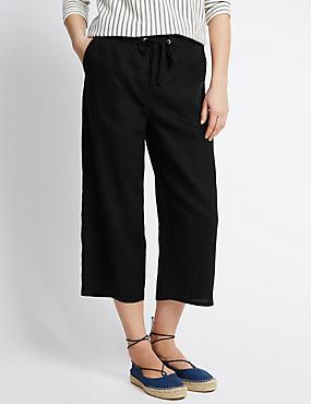 Pure Linen Cropped Trousers, BLACK, catlanding