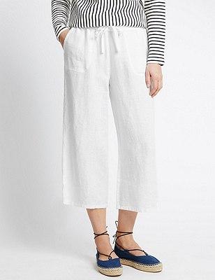 Pure Linen Wide Leg Cropped Trousers , WHITE, catlanding