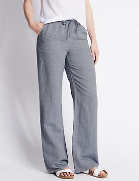 Linen Blend Herringbone Wide Leg Trousers, CHAMBRAY, catlanding