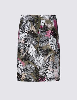 Пляжная юбка из чистого льна с тропическим принтом