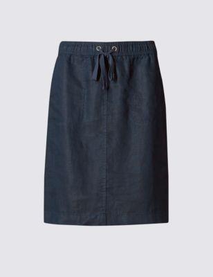 Пляжная юбка прямого кроя из чистого льна от Marks & Spencer