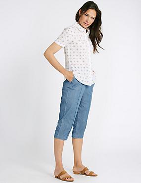 Gerade geschnittene 3/4-Jeans mit mittelhohem Bund, PASTELLBLAU, catlanding