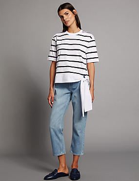 Mid Rise Straight Cropped Jeans, BLEACHED, catlanding