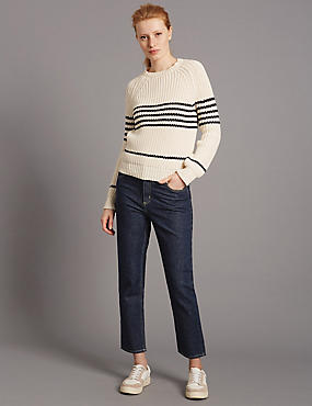 Mid Rise Straight Cropped Jeans, INDIGO MIX, catlanding