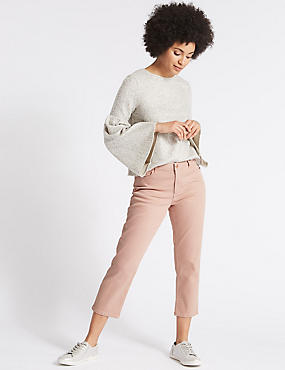 Mid Rise Cropped Slim Leg Jeans, BLUSH PINK, catlanding