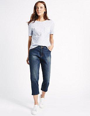 Mid Rise Cropped Slim Leg Jeans, DARK INDIGO, catlanding