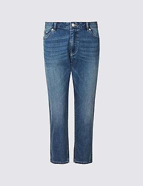Mid Rise Cropped Slim Leg Jeans, LIGHT INDIGO, catlanding