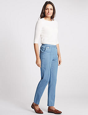 Pull on Mid Rise Slim Leg Jeans, CHAMBRAY, catlanding