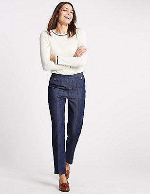 Pull-On-Jeans mit schmalem Bein und mittelhohem Bund, INDIGO, catlanding