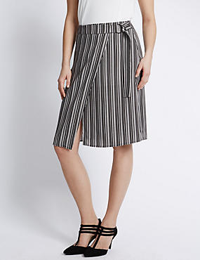 Wrap Style Striped Knee Length A-Line Skirt