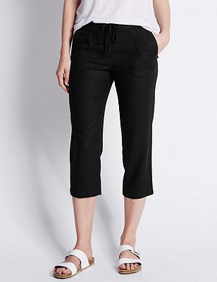 Linen Blend Cropped Trousers, BLACK, catlanding