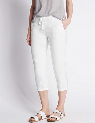 Linen Blend Cropped Trousers, WHITE, catlanding