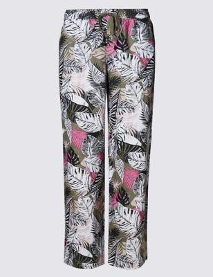 Широкие брюки из чистого льна с тропическим принтом