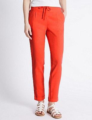 Linen Blend Tapered Leg Trousers, ORANGE, catlanding