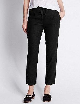 Linen Blend Tapered Leg Trousers, BLACK, catlanding