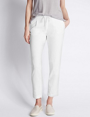 Linen Blend Tapered Leg Trousers, WHITE, catlanding