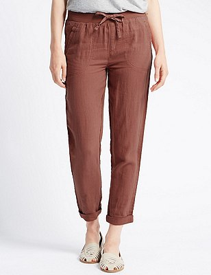 Pure Linen Tapered Leg Trousers, SPICE, catlanding
