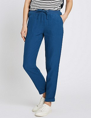 Pure Linen Tapered Leg Trousers, DENIM, catlanding
