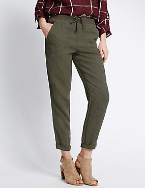 Pure Linen Tapered Leg Trousers, , catlanding