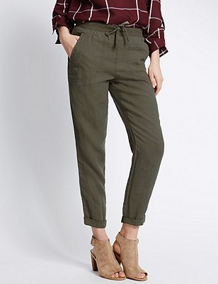 Pure Linen Tapered Leg Trousers, KHAKI, catlanding