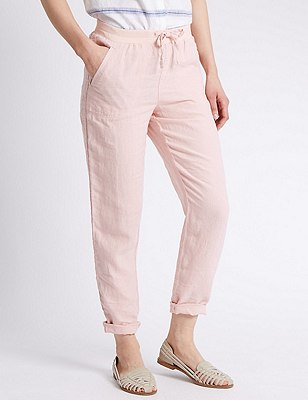 Pure Linen Tapered Leg Trousers, PINK CLOUD, catlanding