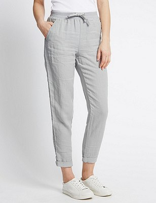 Pure Linen Tapered Leg Trousers, CHARCOAL, catlanding