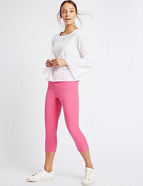 Mittelhohe 3/4-Jeans mit sehr schmalem Schnitt, LEUCHTENDES ROSA, catlanding