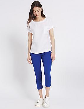 Mid Rise Cropped Skinny Leg Jeans, COBALT, catlanding