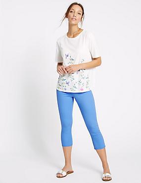 Mittelhohe 3/4-Jeans mit sehr schmalem Schnitt, KORNBLUME, catlanding