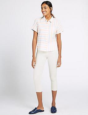 Kortere jeans met middelhoge taille en smalle pijpen, ZACHT WIT, catlanding