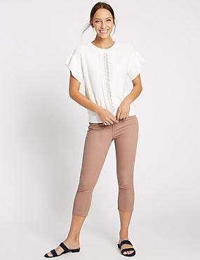 Pantacourt en jean coupe très skinny taille normale, ROSE THÉ, catlanding