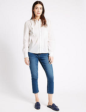 Mid Rise Cropped Super Skinny Leg Jeans, BRIGHT INDIGO, catlanding