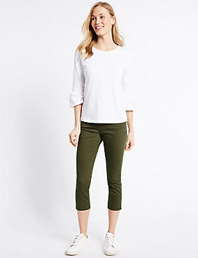 Kortere jeans met middelhoge taille en smalle pijpen, DONKER KAKI, catlanding