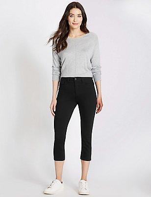 Mid Rise Cropped Super Skinny Leg Jeans, BLACK, catlanding