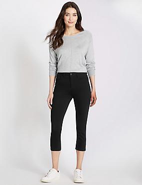 Kortere jeans met middelhoge taille en smalle pijpen, ZWART, catlanding